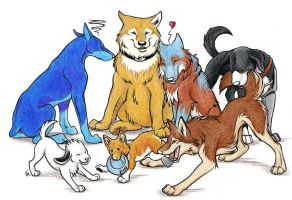 Canine Group Commission by WildSpiritWolf