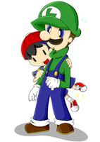 SmashBros-Ness and Luigi by Lonlon2orHoagieCoco