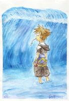 The sea gives Sora a surprise by land3