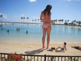 super tall girl at the beach by lowerrider