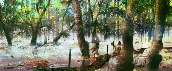 Swamp and girls by amatoy