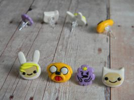 Adventure Time and Friends Studs Polymer Clay by ThePetiteShop