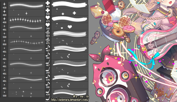 sparkle  cross  heart  note Photoshop Brushes by AMERARA