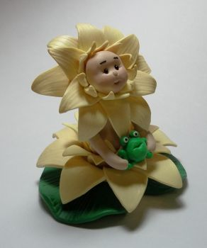 OOAK Water Lily clay figurine by CraftMuse