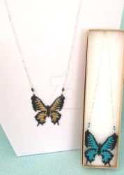 Butterfly Necklaces - Gold and Turquoise by WhiteMagicPriestess