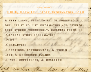 HUGE, DETAILED Story Information Form Bundle by LadyLombax