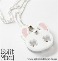 White Bunny Necklace by splitmindplush