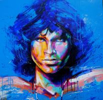 Jim Morrison blue, Acrylic on Canvas by HPRADO
