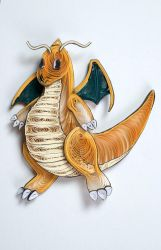Pokemon Paper Quilling Art 149 Dragonite by wholedwarf