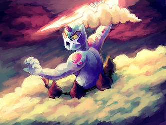 Thundurus and his Lightning bolt by MusicalCombusken