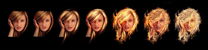 Strands of hair made from fire workflow by squiffythewombat