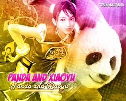Panda and Xiaoyu wallpaper by ladylucienne
