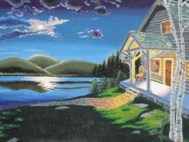 Cabin at the Lake by S0ngSparr0w