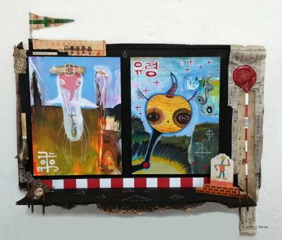 Assemblage/painting: Ghosts by bugatha1