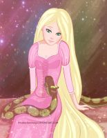 Rapunzel and Kaa by MikaBesfamilnaya