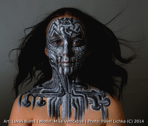 Black n White dark mind facepainting by KilledCZ