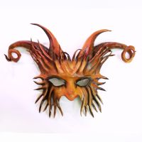 Horned Creature Leather Mask imp satyr pan goat by teonova