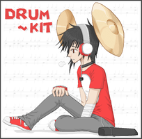 .:Instrument-Tan: Drum Kit by teiteika