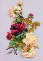 Roses, ribbon embroidery by TetianaKorobeinyk