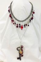 Garnet Charm Necklace by mintdawn