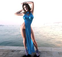 Milania in Slit Dress Blue Silk by lily-toy
