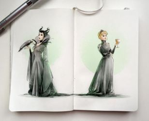 Notebook sketches | Maleficent and Cersei by SimonaBonafiniDA