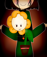 NF!Chara and NF!Flowey by KiddoDrawsOficial
