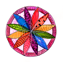 Watercolor and Ink Compass Mandala: Rainbow by jempavia