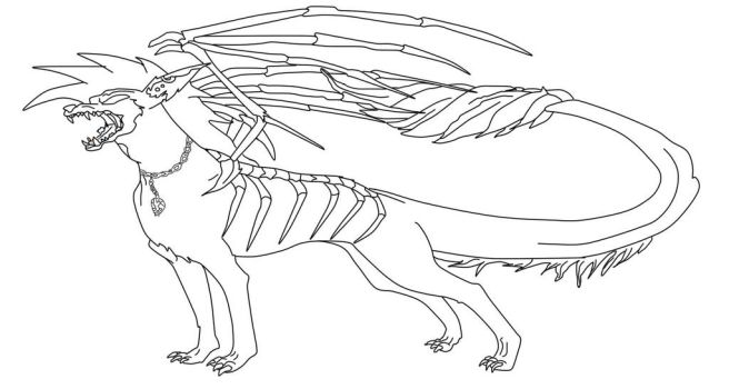 free to use hellhound lineart 2 by dragonlover1290