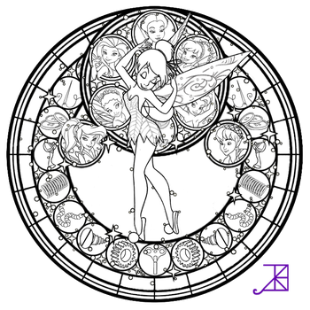 Disney Fairies Stained Glass -line art- by Akili-Amethyst