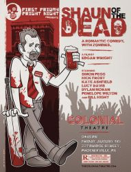 Poster for local screening of Shaun of the Dead by nakedDerby