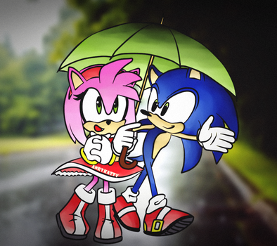 Rainy-day-sonic-and-amy by AnryKatty