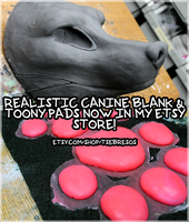 Realistic Canine Blanks and Toony Pads on Etsy! by Tsebresos