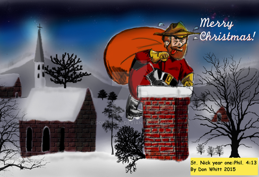 Merry Christmas only Cowboy Santa and Chimney by donwhitt