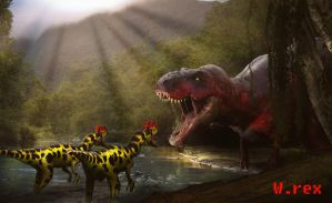 Jurassic park Novel 3D rex vs dilo by Wolfhooligans