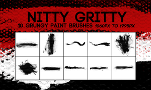 NITTY GRITTY -- 10 Large Grungy Paint Brushes by harmonia