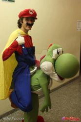 Mario riding Yoshi Cosplay by Osmariobro