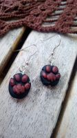 Polymer Clay Paw Earrings by pun