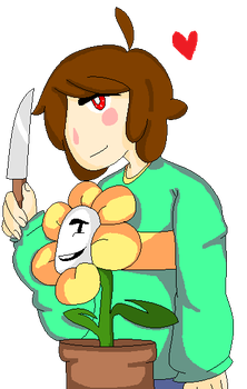 Chara and Flowey Colored by PickledPears
