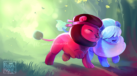 Ruby and Sapphire Lions by RoyalNoir