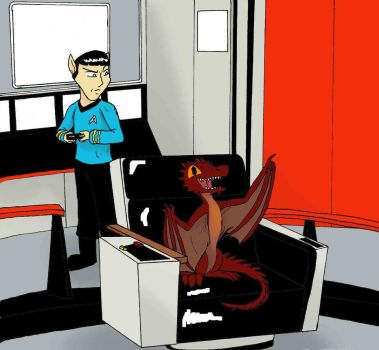 Smaug on the Starship Enterprise as a Baby by Sarokophoenix