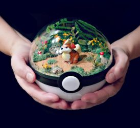 Growlithe Forest - Poke Ball Terrarium by TheVintageRealm