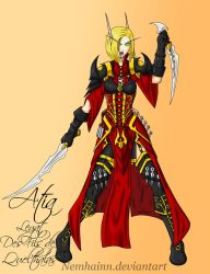 Blood elf : Atia's bladedancer armour by Nemhainn