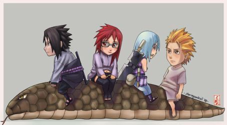 Team Hebi chibis coloured by sharingandevil