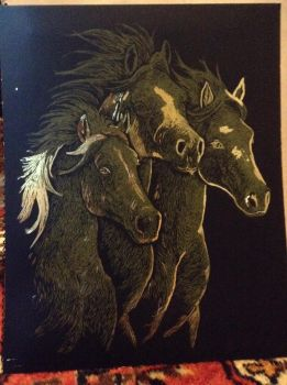 Gold leaf horses by whenwolveshowl