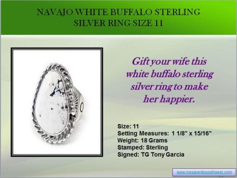 Navajo White Buffalo Sterling Silver Ring Size 11 by mesaverde1