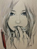 Portrait of a girl in charcoal pencil by leversandpulleys