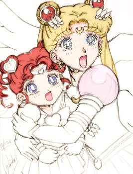 Trouble? -Sailor Moon and Chibi Chibi Moon- by SidselC