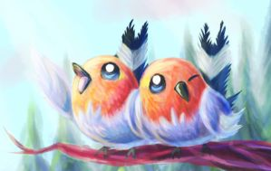 Good Morning Song (A pair of Fletchling/Yayakoma) by MellowMeloetta