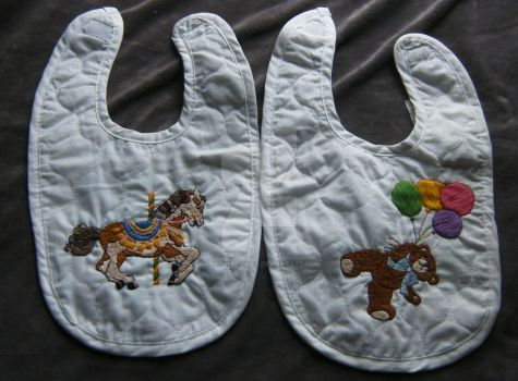 Quilted Bibs Bear and Carosel by cardnial-wolf